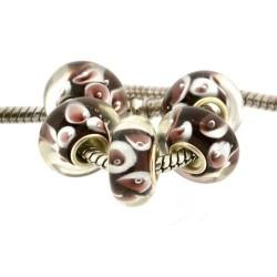 Perle de verre Panthère rose style Pandora - à l'unité
