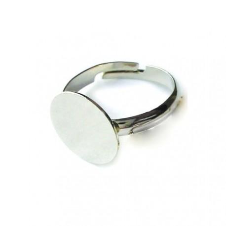 Bague ronde réglable, plateau 10 mm, argenté sans nickel