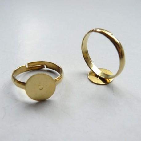 Bague ronde réglable, plateau 10 mm, doré