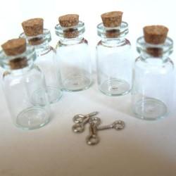 Lot 5 fioles de verre, 13 x 23 mm