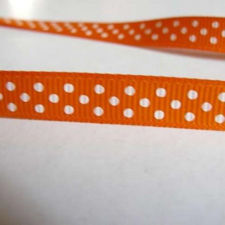 Ruban gros grain orange, 10 mm, au mètre