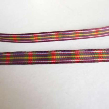Ruban écossais multicolore, 7 mm, au mètre