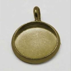 Pendentif support à cabochon 10 mm intérieur, bronze antique