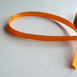 Ruban satin uni orange, 10 mm, au mètre
