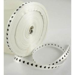 Ruban satin blanc coeur noir, 10 mm, au mètre