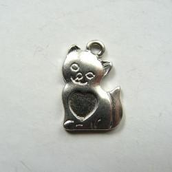 Pendentif breloque en métal Chat au coeur