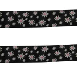 Ruban gros grain noir à fleurs, 16 mm, au mètre