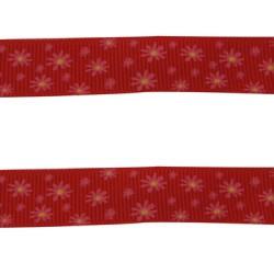 Ruban gros grain rouge à fleurs, 16 mm, au mètre