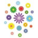 Transfert textile thermocollant fleurs multicolores