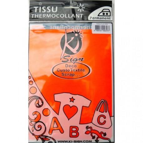Tissu textile thermocollant fluo orange