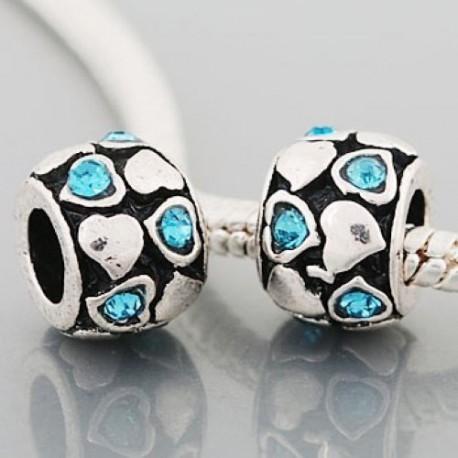Métal petits coeurs strass turquoise style Pandora - à l'unité