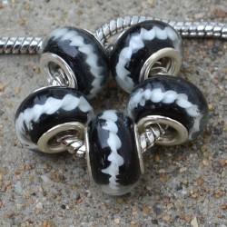 Perle de verre noire ruban blanc style Pandora - à l'unité
