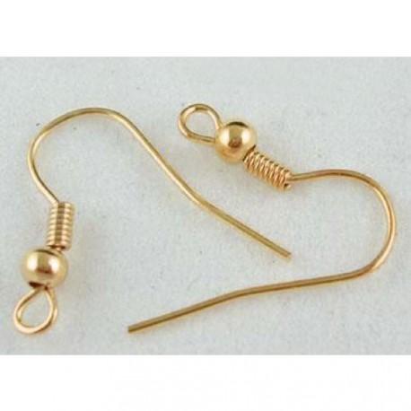 Crochets d'oreille, 18 mm, dorés - la paire