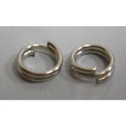 Anneaux doubles ronds, 8 mm diamètre, argenté x10