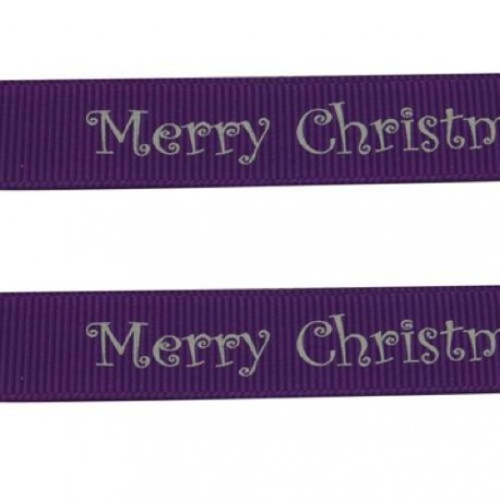 Ruban gros grain Merry Christmas sur fond violet, 10 mm, au mètre