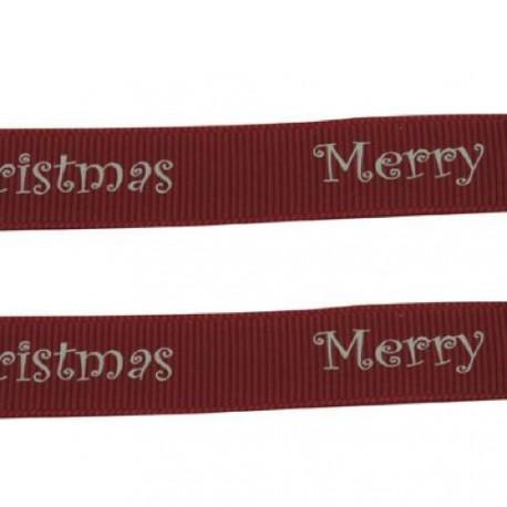 Ruban gros grain Merry Christmas sur fond bordeaux, 10 mm, au mètre