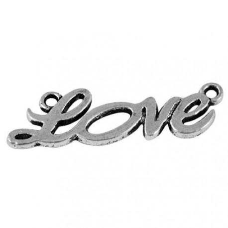 Intercalaire breloque Love, argenté 3,5 x 1,3 cm