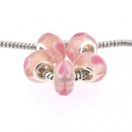 Perle de verre rose coeur rose style Pandora - à l'unité