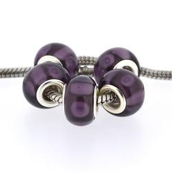 Perle de verre prune sombre style Pandora - à l'unité