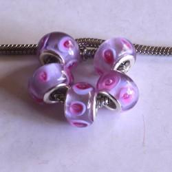 Perle de verre rose avec ronds style Pandora - à l'unité