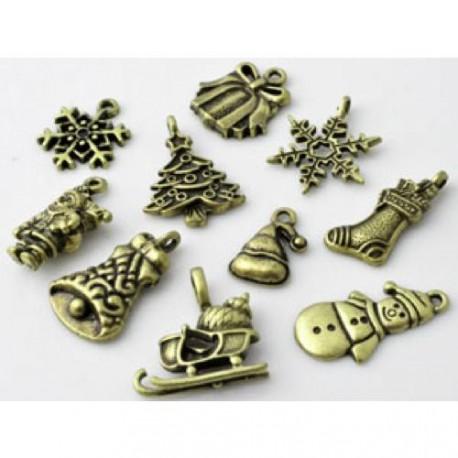 Pendentifs breloques, bronze antique, Noël x 10