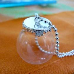 Globe bulle 20 mm avec pendentif argenté clair