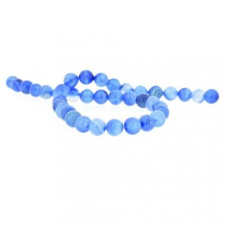 Perle naturelle Agate bleue turquoise, ronde 10 mm - à l'unité