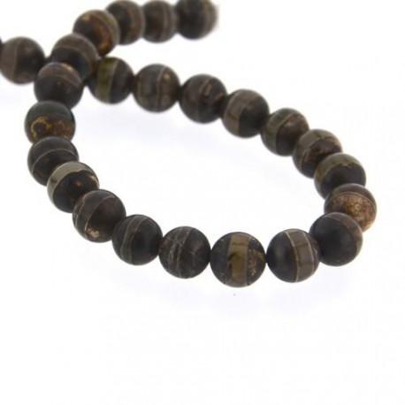 """Perle naturelle Agate """"ethnique"""" marron avec lignes, ronde 10 mm - à l'unité"""