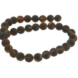 """Perle naturelle Agate """"ethnique"""" marron avec élipses, ronde 10 mm - à l'unité"""