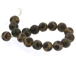 """Perle naturelle Agate """"ethnique"""" marron avec ronds lisses, ronde 10 mm - à l'unité"""