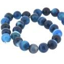 Perle naturelle Agate bleue turquoise, ronde 12 mm - à l'unité