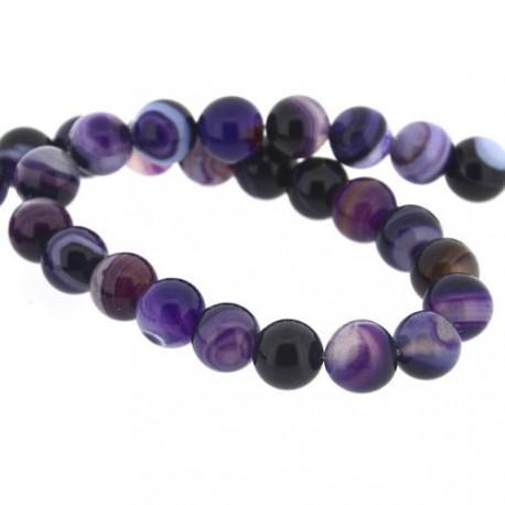 Perle naturelle Agate violette, ronde 12 mm - à l'unité