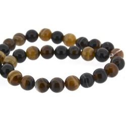 Perle naturelle Agate marron, ronde 12 mm - à l'unité