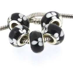 Perle de verre noire trèfle blanc style Pandora - à l'unité