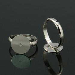 Bague ronde réglable, plateau 12 mm, argenté
