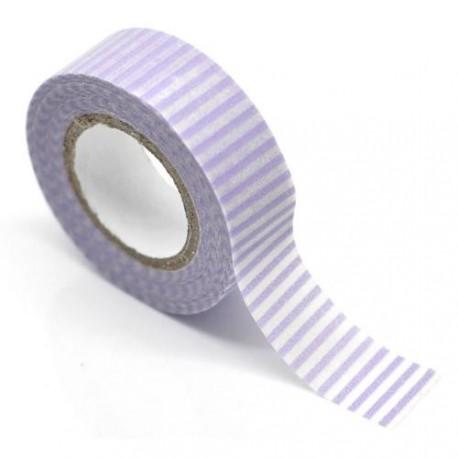 Masking Tape Violet à lignes - 15 mm x 10 m