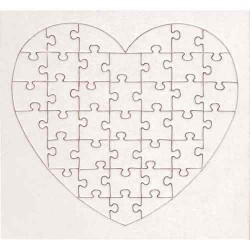 Puzzle en carton blanc à décorer Coeur 40 pièces