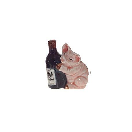 Cochon avec bouteille