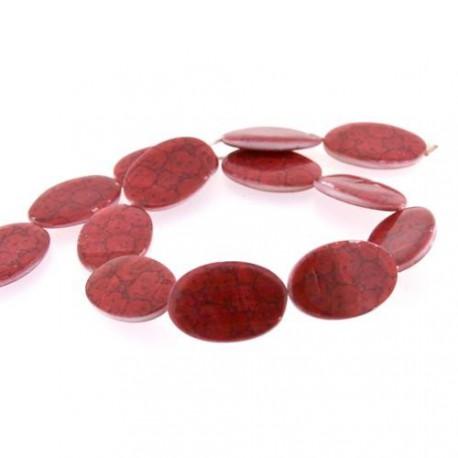Perle Coquillage galets rouges, ovale 30 mm - à l'unité