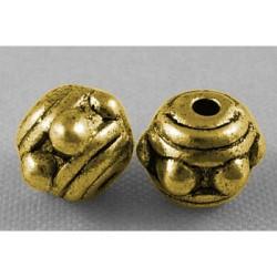 Perle de métal ronde décorée, dorée