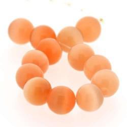 Perle Oeil de Chat orange clair, ronde 6 mm - à l'unité
