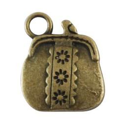Pendentif breloque en métal porte-monnaie, bronze antique