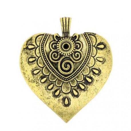 Pendentif breloque en métal Grand coeur orné, bronze antique