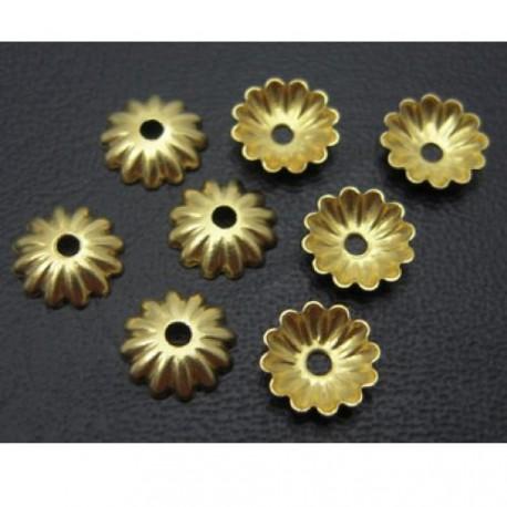 Calotte filigree en laiton 6 mm, doré - par 20