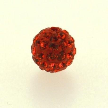 Perle metal strass shamballa 10mm orange