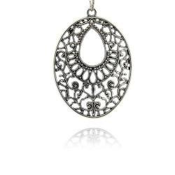 Pendentif breloque en métal Médaillon ovale, argenté
