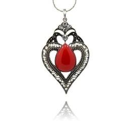 Pendentif breloque en métal Coeur goutte rouge et strass, argenté
