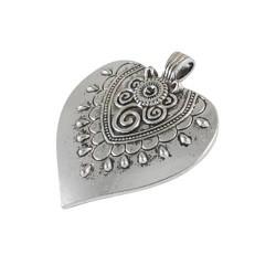 Pendentif breloque en métal Grand coeur orné, argenté