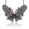 Pendentif breloque en métal Papillon, strass, argenté