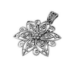 Pendentif breloque en métal Grande Fleur dentelle, argenté